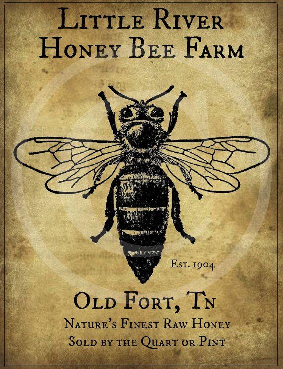 Primitive Vintage Honey Bee Farm Printable Jpeg by Starrmtnprims, $3.00