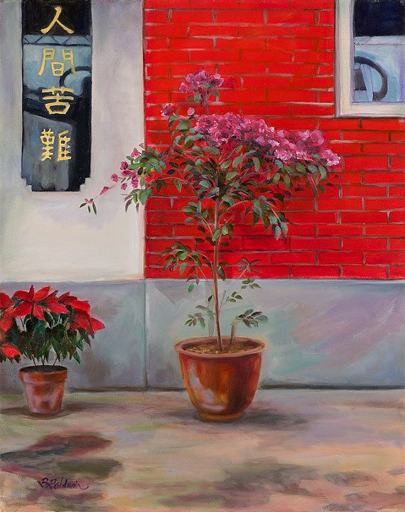 """Oil Painting """"Red Tile Building"""" Oil painting inspired by the everyday beauty of life in Hong Kong on Etsy, $695.00"""