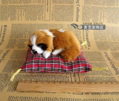 about 13x12cm mat dog model handicraft,sounds bark dog,plastic&fur sleeping yellow dog prop ,car decoration toy Xmas gift w5980 #Affiliate