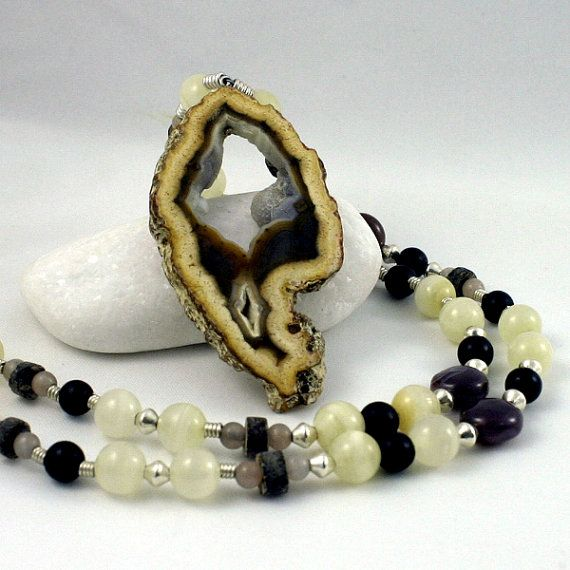 brown agate necklace by wazkastudio on Etsy