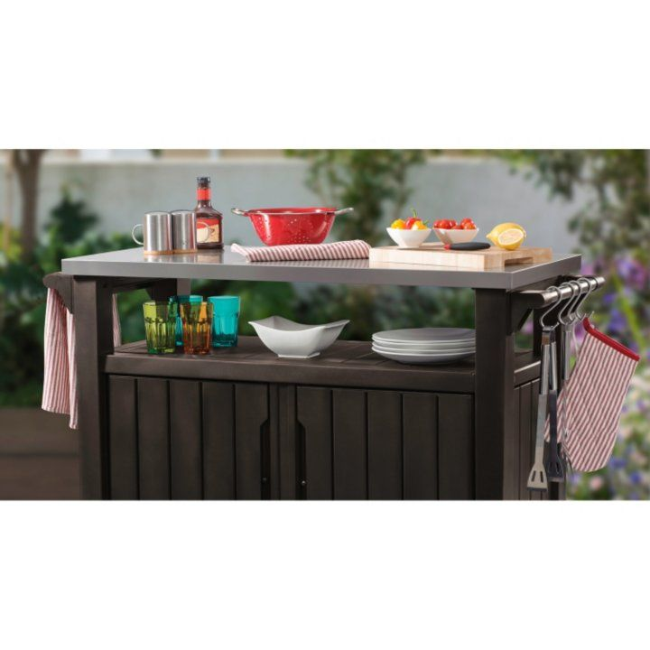 Keter Outdoor Entertainment Storage Station Grilling Table Grill Table Entertainment Storage Storage Station