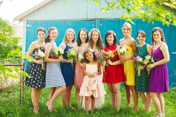 Colorful Mismatched Bridesmaids | Photography by http://dixiepixelphoto.com/