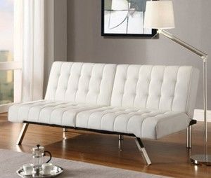 White Futon Faux Leather Sofa Bed In Vanilla Cream Convertible Couch NEW