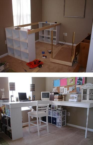 2 separate book cases nailed together with 2 edges and a top piece. Side piece is a regular rectangular table. Pretty neat! DIY Craft Desk