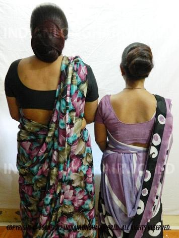 Long Hair Model of the Month December 2012. Sangita & Santu with  her long, healthy & thick knee length hair in huge buns