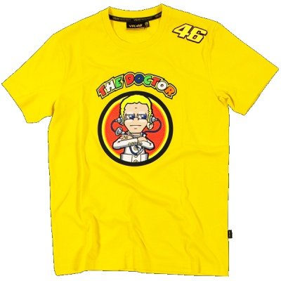 Official Valentino Rossi Merchandise    Yellow 'The Doctor' logo short sleeved T-Shirt    This fab t-shirt features 'The Doctor' logo across the front in vibrant colours along with the Doctor cartoon logo with bright red/orange background.  A #46 also features on the left shoulder and there is a #46 logo at the back with bright vibrant text going down the centre back.    Part of the Official VR46 Official Merchandise range.