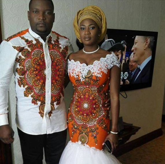 African wedding dress /prom dress /mens shirt /couple.outfit