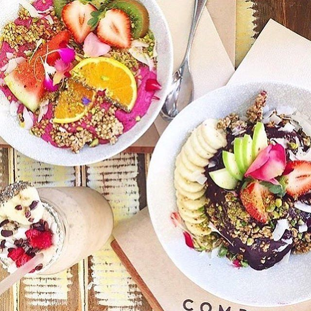 See this Instagram photo by @vegsociety • 45 likes @wearecombi 's dragon fruit bowl + a raw, organic superfood smoothie. A perfect summer breakfast ✨