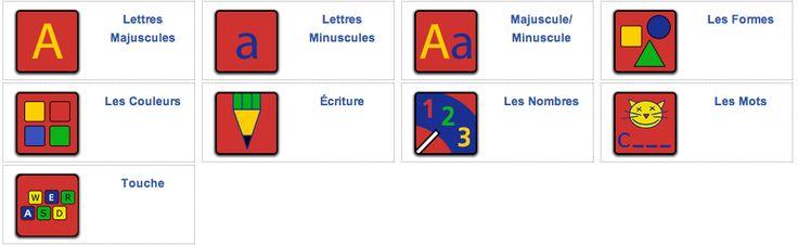 Des activités pour découvrir les lettres majuscules et minuscules, les formes, l'écriture, les mots, les nombres, les couleurs et les touches du clavier.