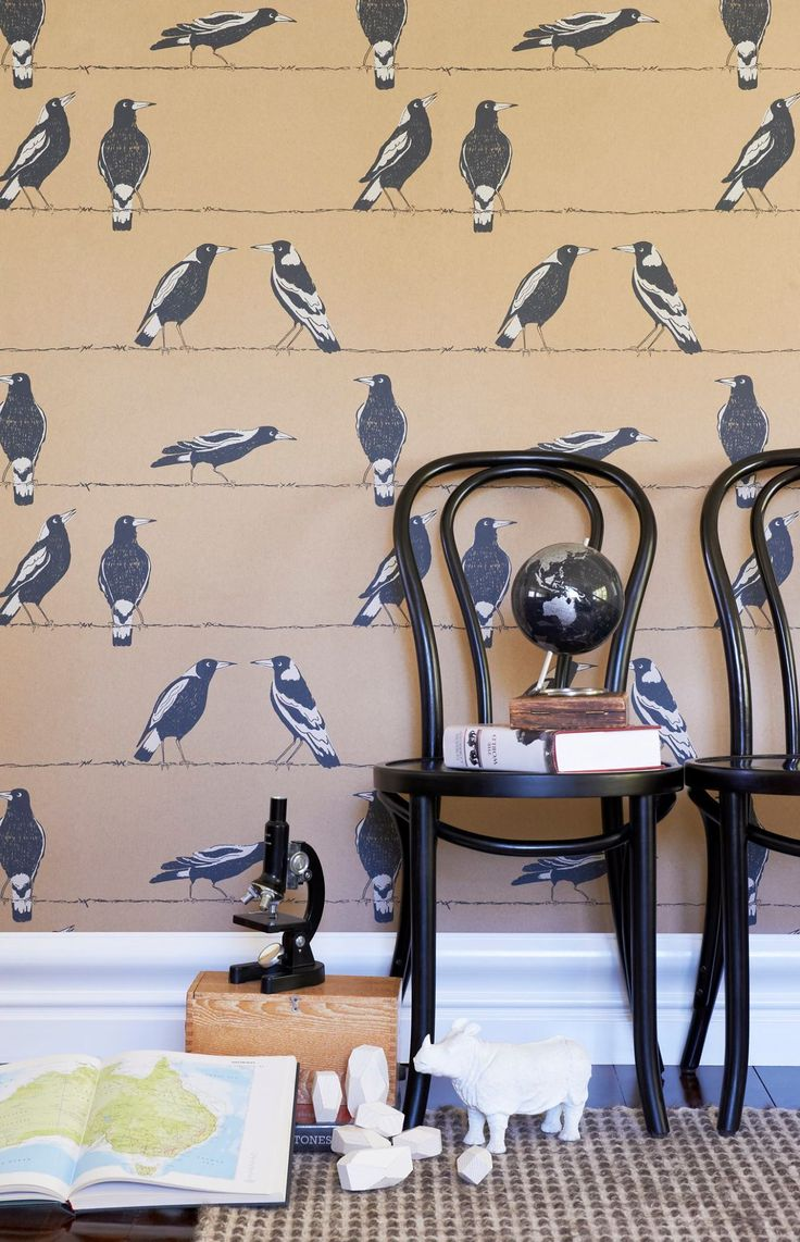 ntroducing Porter's Offspring Collection, a cheerful wallpaper collection created to inspire and engage imaginations. Ideal for bedrooms and play areas these delightful designs have the scope and sophistication to be embraced by the entire family. Each design is available in a joyful palette of colours. Magpies - Welcome these Aussie icons into your world and they'll offer mateship, perching joyfully on your walls.