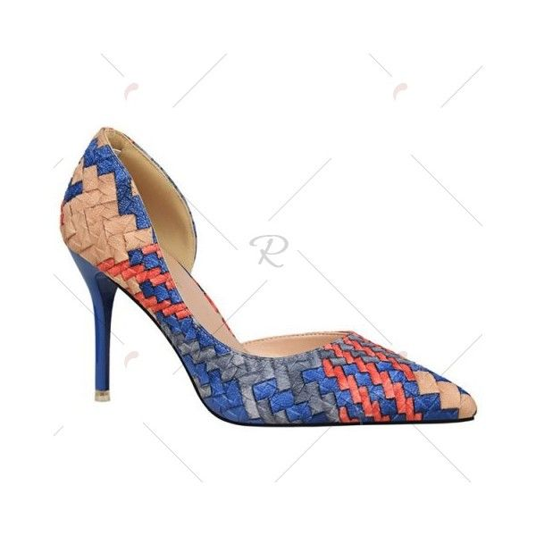 Stiletto Heel Woven Pattern Pointed Toe Pumps ❤ liked on Polyvore featuring shoes, pumps, pointy-toe pumps, pointed toe stilettos, patterned pumps, high heel stilettos and print pumps