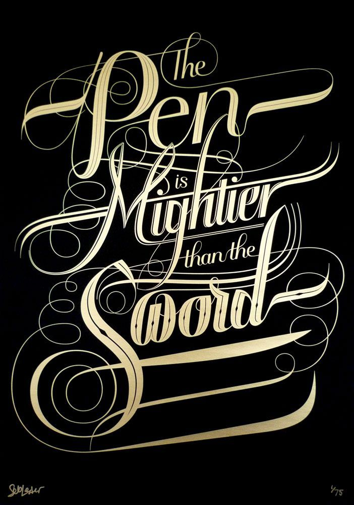 """The pen is mightier than the sword."" Artwork: Seb Lester"