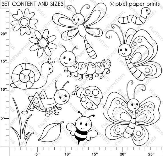 Cute Bugs - Digital Stamps