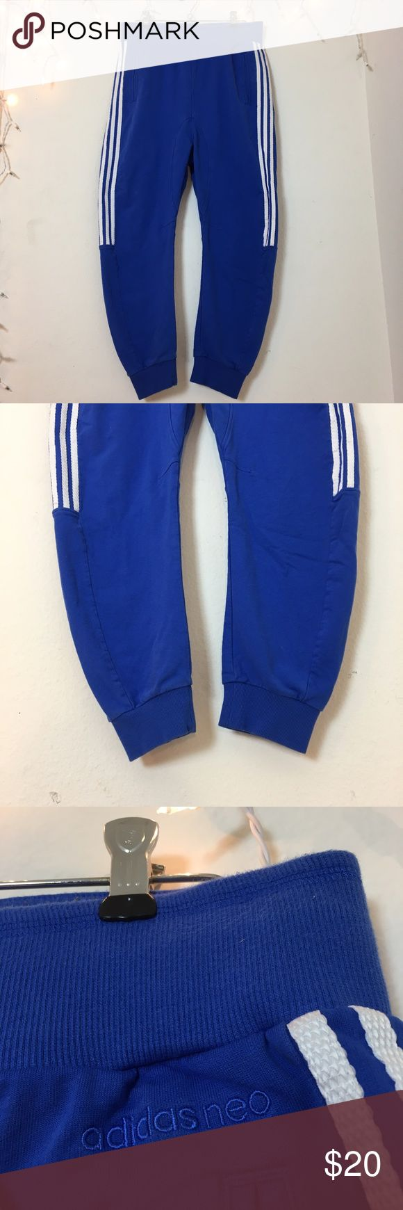 Adidas Neo Blue White Joggers Bright blue adidas Joggers with white stripes down the sides and tapered ankles. Super comfortable and in perfect (NEW) condition. Bought at Adidas warehouse in LA as a sample item (these are one of a kind). Adidas Pants Track Pants & Joggers