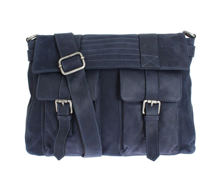 PIERRE BALMAIN Blue Leather Messenger Bag #balmain #cf-color-navy #cf-size-medium