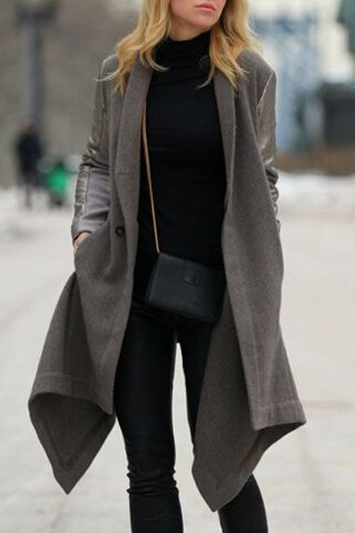 Irregular Hem Long Loose-Fitting Spliced Coat