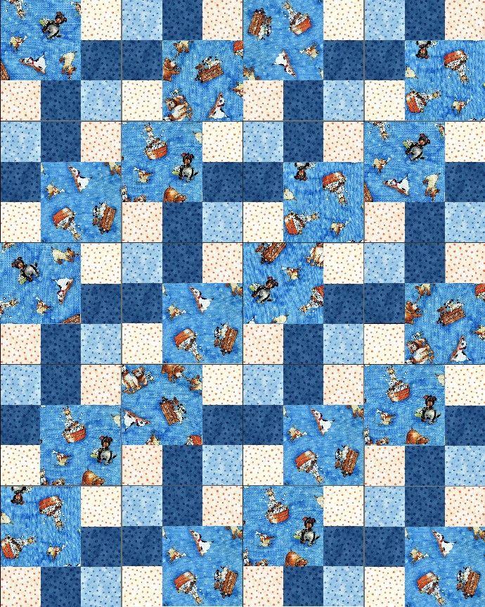 Lil Miss Cutie Dogs Blue Pre-Cut Quilt Blocks Kit from Quilt Kit Shop