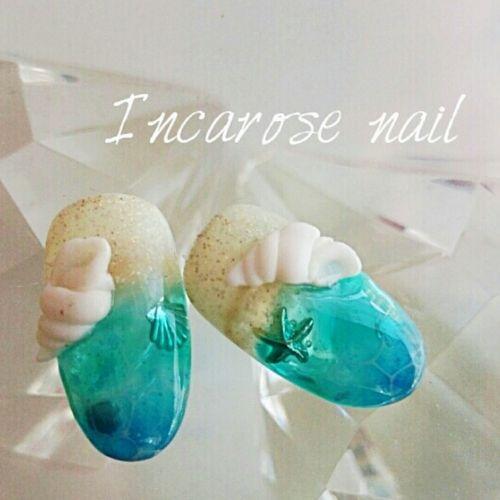 夏ネイル☆砂浜ビーチみたいな〈サンドネイル〉③ 3Dで作った巻貝がオシャレ♡