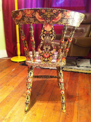 William Morris Strawberry Thief Decoupage Chair Gold | eBay