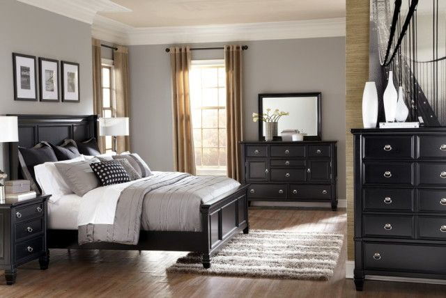 gray bedrooms black furniture Google Search Bedroom