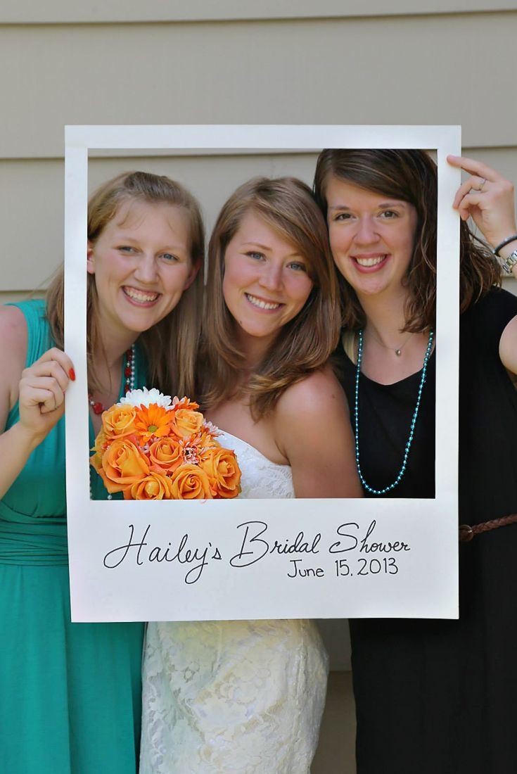 Make this easy DIY polaroid frame for a party prop! Host a beautiful backyard bridal shower full of lots of DIY ideas, decorations, finger food recipes, and fun games with all these ideas!