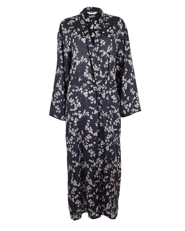 Sarah Long Black Floral Printed Robe