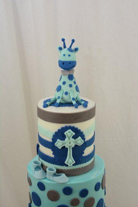 Giraffe Baby Christening Cake