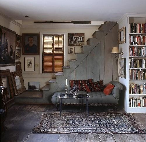 bookshelves and couch...looks like a nice place to read!Ideas, Spaces, Stairs, Interiors, Living Room, Reading Corner, Reading Nooks, House, Basements