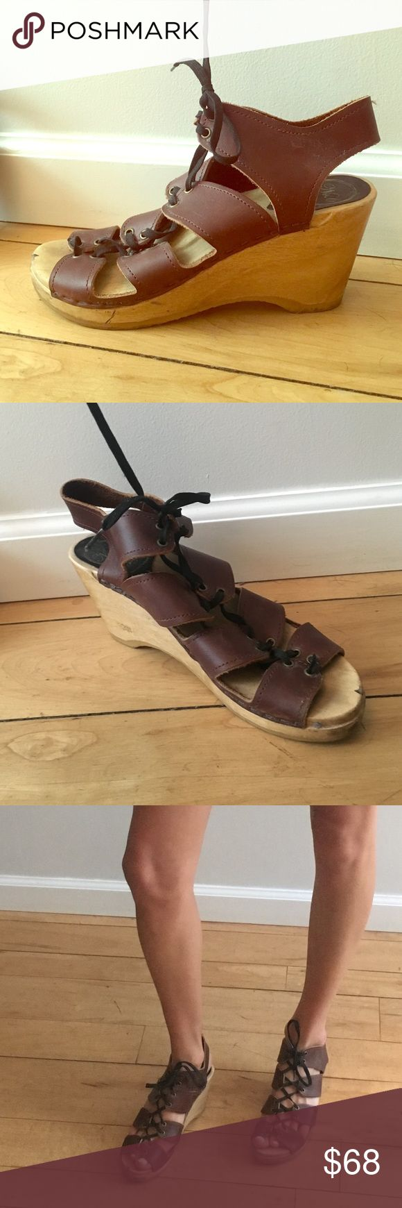 No. 6 Boutique brand lace up wedge clogs 8 Boutique NYC brand No. 6 wedge lace-up clogs in size 8. Super cute and comfortable, about 3 inch heel . Slightly scuffed up but in otherwise great condition. #no6 #number6 #8 #wedge #clog #laceupheel #laceup #heel No. 6 Shoes Wedges