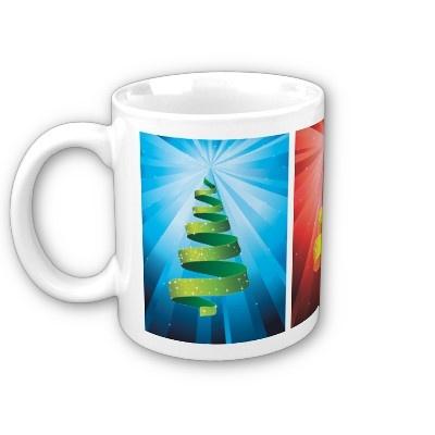 3 bright Christmas trees made from ribbon Coffee Mug