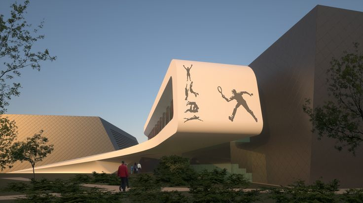Tennis, sport and swimming center in Groznij designed by 4D Architects sport hall stadium design facade