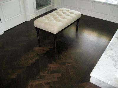 herringbone dark wood floor