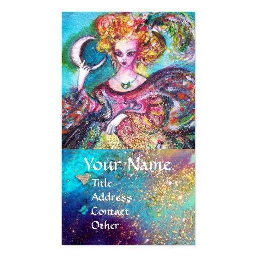 TAROTS OF THE LOST SHADOWS / THE MOON LADY IN BLUE BUSINESS CARD  by Bulgan Lumini (c) #tarot #psychicreader #psychics #fineart #artist #nature