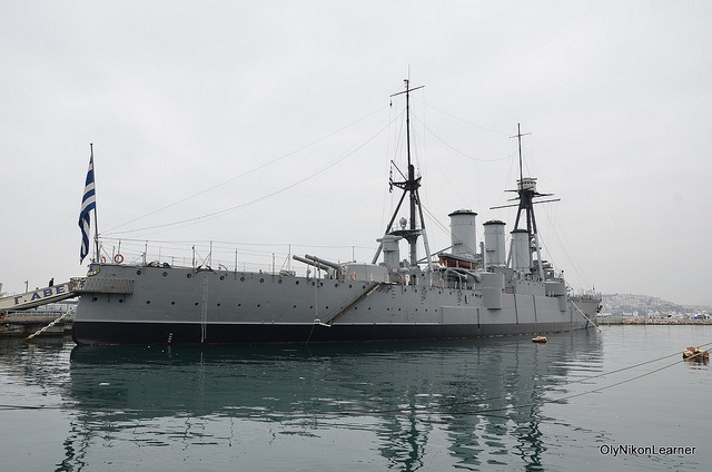 Greek armored cruiser Averof, a naval museum ship anchored near Athens, Greece.