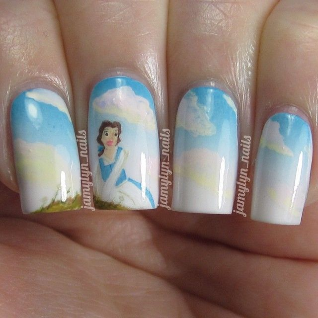 """Belle Nail Art: Nail Art Inspired By Belle From Disney's """"Beauty And The"""