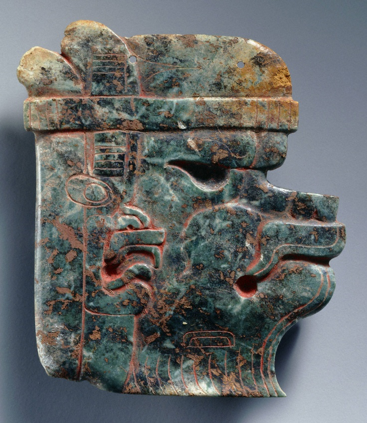 Middle Preclassic, Olmec  Plaque, 900–600 B.C.  Jade with traces of cinnabar  h. 8.5 cm., w. 7.8 cm., d. 0.5 cm. (3 3/8 x 3 1/16 x 3/16 in.)  Place made: Guerrero, Mexico