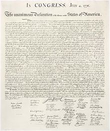 4 July 1776 – 239 years ago today,  The Continental Congress approved adoption of the amended Declaration of Independence, prepared by Thomas Jefferson and signed by John Hancock–President of the Continental Congress–and Charles Thomson, Congress secretary, without dissent.