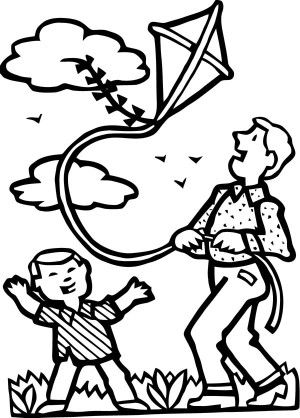 A Cute Kite With Four Ribbon Coloring Page