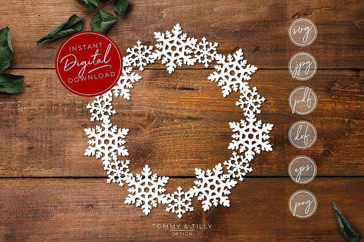 Snowflake Wreath SVG EPS DXF PNG PDF JPG (With images