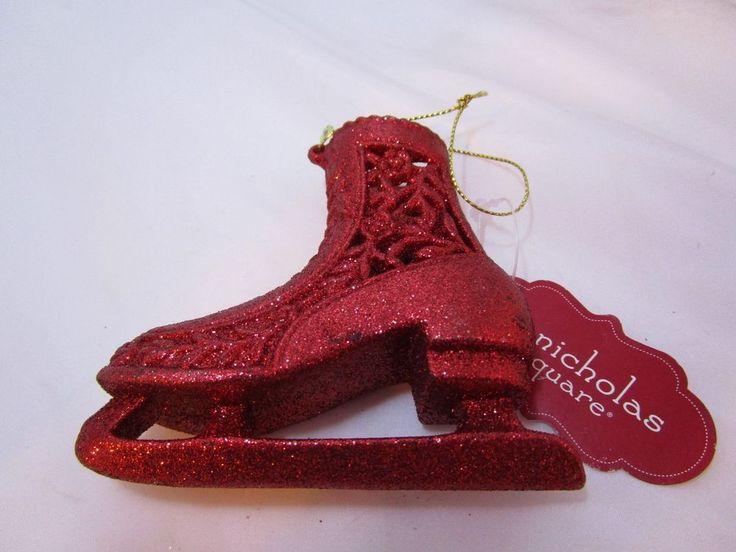 """St Nicholas Square Sparkling Glitter Red Ice Skate 4"""" Christmas Ornament NEW #StNicholasSquare"""
