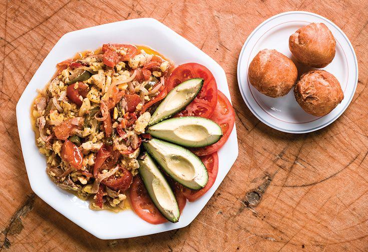 Ackee and Salt Fish atA Yah Mi Deh JamaicanRestaurant and Bakery