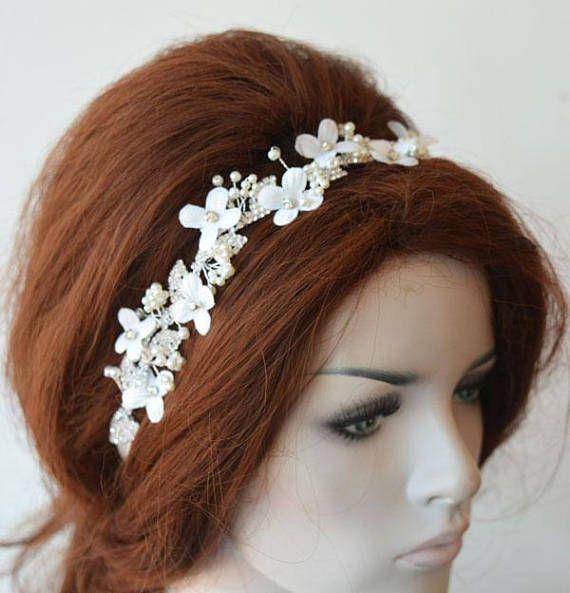 Feuille de casque de mariée florale, feuille de mariage floral, bandeau pour mariage, bijoux de cheveux, accessoire de coiffure