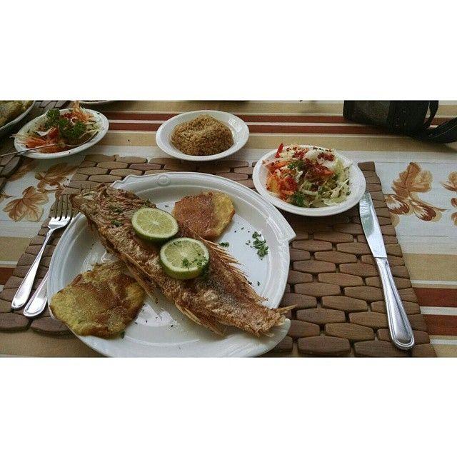 Almuerzo caribeño en la isla de San Andres: pescado, patacones, arroz de coco y ensalada TODA UNA DELICIA CULINARIA #HosteriaMarySol