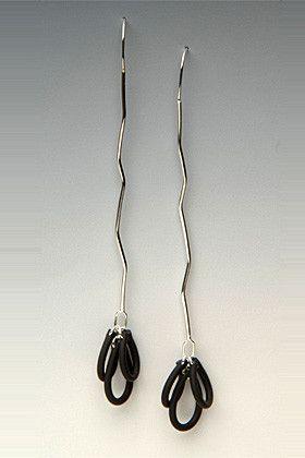 Stick Silver and Neoprene Rubber Earrings