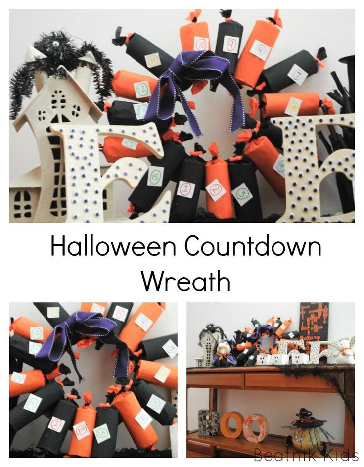 Halloween Countdown Wreath tissue paper holiday craft Halloween crafts advent wreath