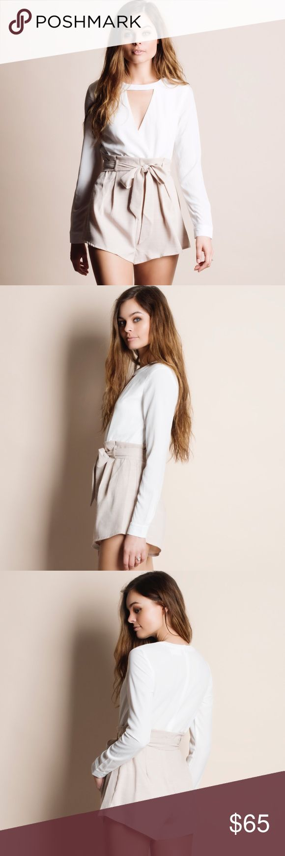 """Two Toned Cut Out Tie Waist Romper Playsuit Beige and white cut out front, tie waist romper. Junior sizing. This is an ACTUAL PIC of the item - all photography done personally by me. Model is 5'9"""", 32""""-24""""-36"""", wearing the size small. NO TRADES DO NOT BOTHER ASKING. Bare Anthology Pants Jumpsuits & Rompers"""