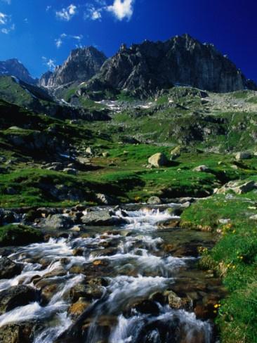 Alpine Stream and Mountain Scenery Near Furka Pass., Uri, Switzerland