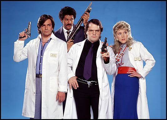 Dr. Lucien Sanchez (Todd Rivers), his hard ass boss Thornton Read (Dean Learner), Dr. Rick Dagless M.D (Garth Marenghi) and woman Dr. Liz Asher (Madeleine Wool) ~ Todd Rivers is played by Matt Berry, Dean Lerner is played by Richard Ayoade, the excellent narrator and main character (Marenghi) is played by Matthew Holness and Madeleine Wool is played by Alice Lowe in the HUGELY under-rated 'Garth Marenghi's Darkplace'
