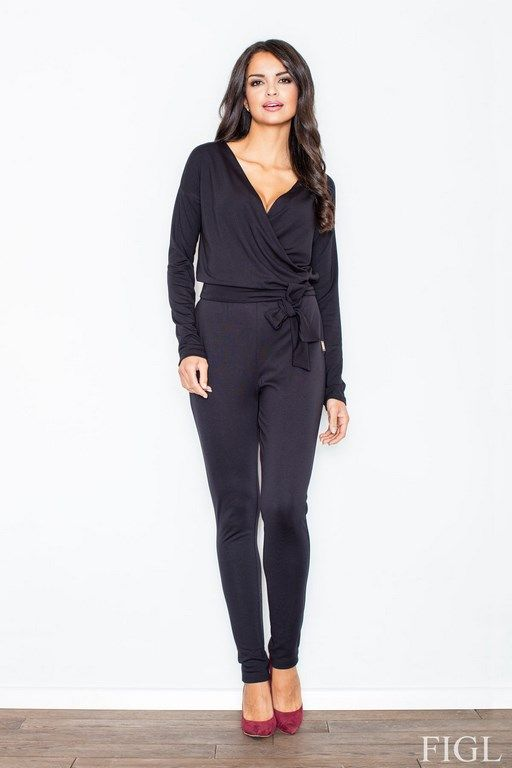 Black jumpsuit women with decorative belt