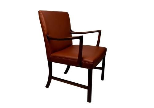 A Rosewood Armchair Upholstered With Brown Aniline Leather By Ole Wanscher   vinterior.co